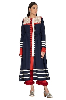Midnight Blue Embroidered Jacket Dress by Ka-Sha