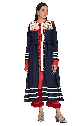 Midnight Blue Embroidered Jacket Dress by Ka-Sha