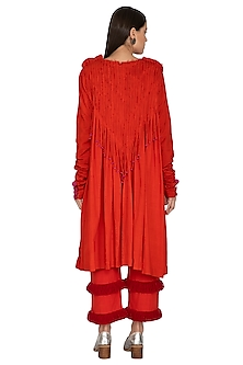 Red Fringe Straight Pants by Ka-Sha