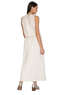 White Overlapping Straight Skirt by Ka-Sha