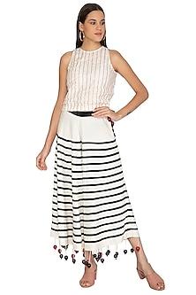 White Appliqued A-Line Skirt by Ka-Sha