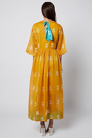Orange Floral Printed Dress by Ka-Sha