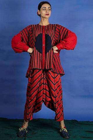 Bright Red Appliques Jacket Set by Ka-Sha