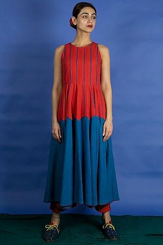 Bright Blue Panelled Dress by Ka-Sha