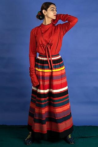 Multi Colored Applique Work Skirt Set by Ka-Sha