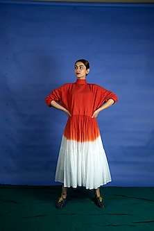 Vermillion Dip Dyed Dress by Ka-Sha-KA-SHA