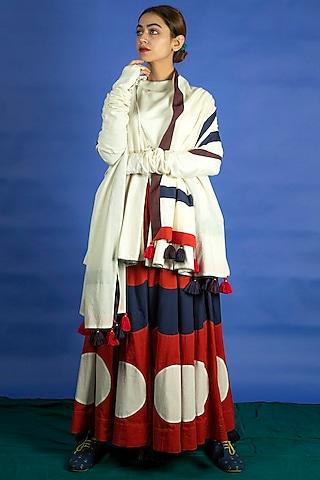 Navy Blue Panelled Appliques Skirt Set by Ka-Sha