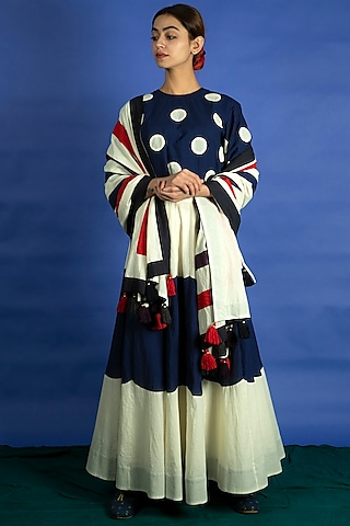 Navy Blue Skirt Set With Applique Work by Ka-Sha