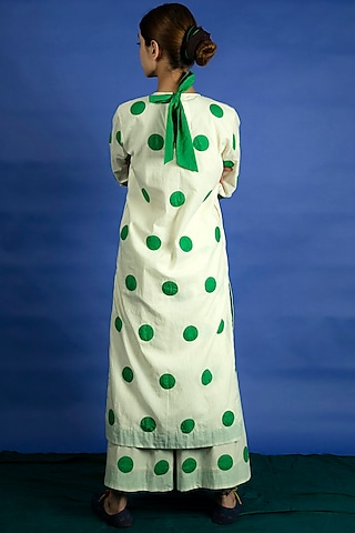 Natural Colored Applique Work Polka Dot Tunic Set by Ka-Sha
