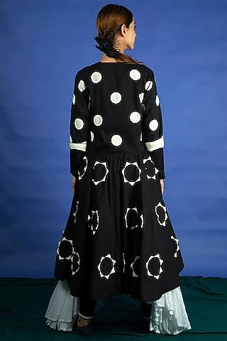 Black Applique Work Dress Jacket With Tunic & Pants by Ka-Sha