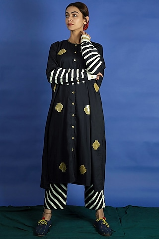 Black Embroidered Tunic With Applique Work Pants by Ka-Sha