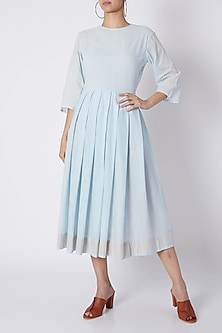 Powder Blue Pleated Dress by Ka-Sha
