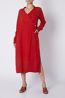 Red Wrap Midi Dress by Ka-Sha