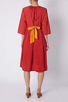 Red Pleated Dress With Pockets by Ka-Sha