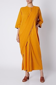 Mango Yellow Pre-Stitched Saree by Ka-Sha