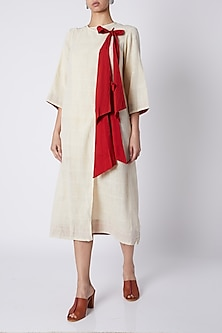 Off White Wrap Dress With Red Bows by Ka-Sha