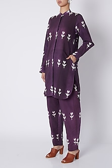 Purple Button Down Kurta by Ka-Sha
