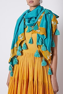 Turquoise Scarf With Tassels by Ka-Sha