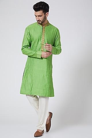 Green Embroidered Kurta Set by Kunal Anil Tanna