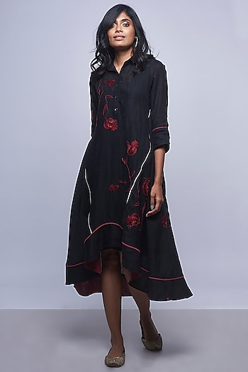Black Embroidered Linen Dress by Kaveri