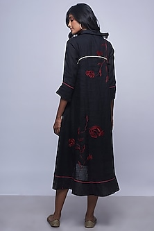 Black Embroidered Linen Dress by Kaveri