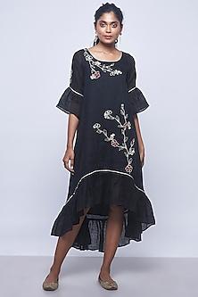 Black Embroidered Frilled Dress by Kaveri