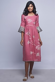 Pink Embroidered Round Neck Dress by Kaveri