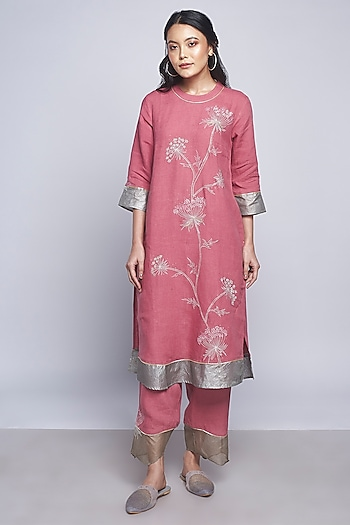 Pink Embroidered Straight Pants by Kaveri