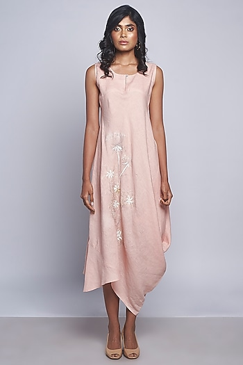 Pink Embroidered Sleeveless Dress by Kaveri