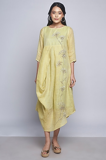 Yellow Embroidered Linen Dress by Kaveri
