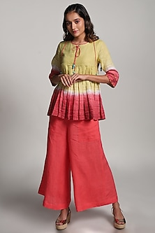 Yellow & Red String Embroidered Top With Wide Pants by Kaveri
