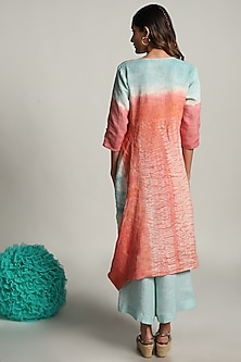 Coral & Powder Blue Printed Dress With Pants by Kaveri