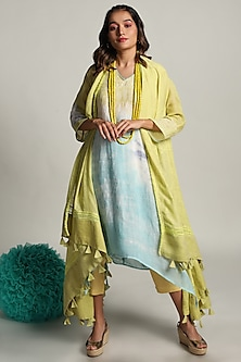 Lime Flowing Cape With Tunic & Pants by Kaveri