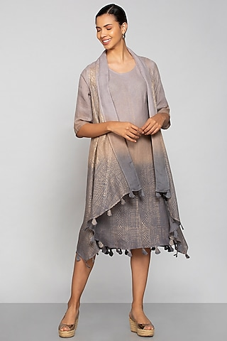 Multi Colored Metallic Print Jacket Set by Kaveri