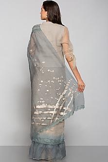 Beige Floral Printed Saree by Kaveri