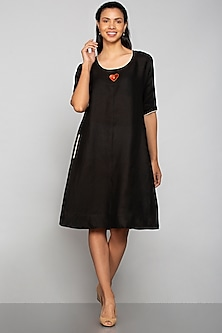Black Applique Embroidered Dress by Kaveri