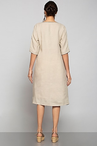 Beige Applique Embroidered Dress by Kaveri