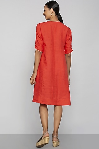 Orange Applique Embroidered Dress by Kaveri