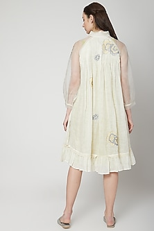 Off White Embroidered Jacket With Dress by Kaveri