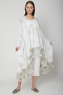 White Ruffled Printed Top by Kaveri