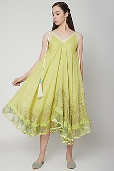 Green Printed Dress With Tassels by Kaveri