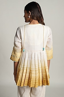 Off White Dip Dyed Top With Embroidery by Kaveri