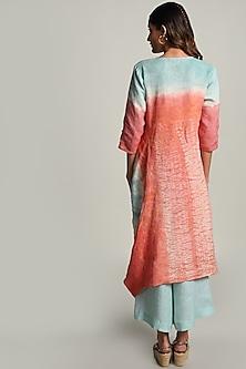 Rust Orange Dip Dyed Shibori Dress by Kaveri