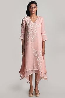 Pink Asymmetric Twirl Dress by Kaveri