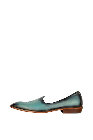 Blue Hand Painted Patina Juttis by Kavith