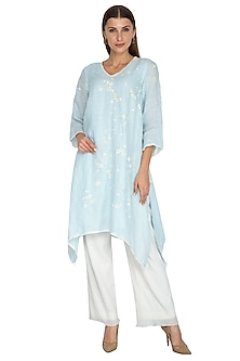 Powder Blue Floral Printed Tunic by Kaveri