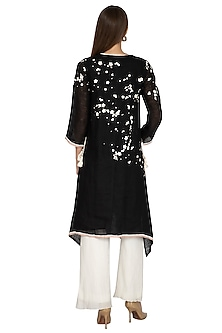 Black Floral Printed Tunic by Kaveri