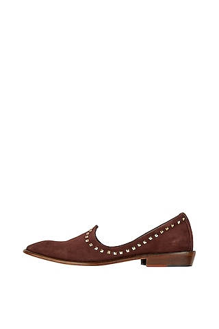 Brown Suede Studded Juttis by Kavith