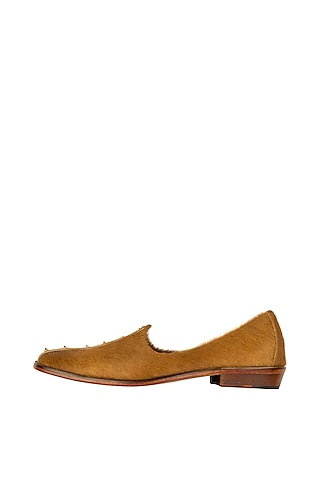 Butter Tan Embroidered Hairon Juttis by Kavith