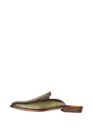 Olive Green Mules With Burnish Tone by Kavith